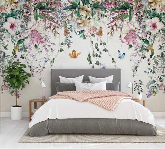 Colorful Flowers And Leaves Floral Wallpaper Self Adhesive Etsy Floral Wallpaper Bedroom Feature Wall Bedroom Floral Bedroom Bedroom background wall decal