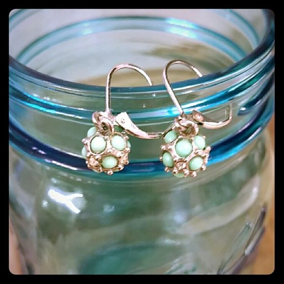 Lia Sophia earrings Adorable lever-back earrings from Lia Sophia.  Mint green and crystal accents hang from a silver setting.  Get them in your closet for spring! Lia Sophia Jewelry Earrings