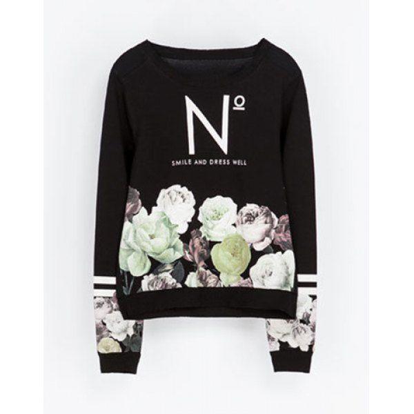 Casual Round Collar Floral Print Long Sleeves Sweatshirt For Women, BLACK, L in Sweatshirts & Hoodies   DressLily.com