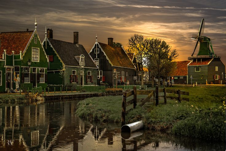 "The Village - by Rolando Felizola (""Zaanse Schans is a small village located in Netherlands on the banks of the Zaan river, complete with tidy green houses, real working windmills, and small topical museums such as the Clock Museum and the first Albert Heijn store."")"