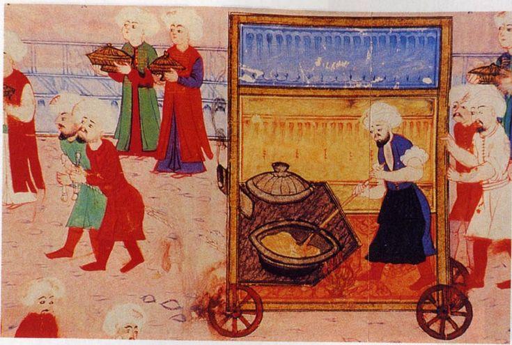 """Ottoman art, miniature (cooking """"helva"""", a turkish dessert)"""