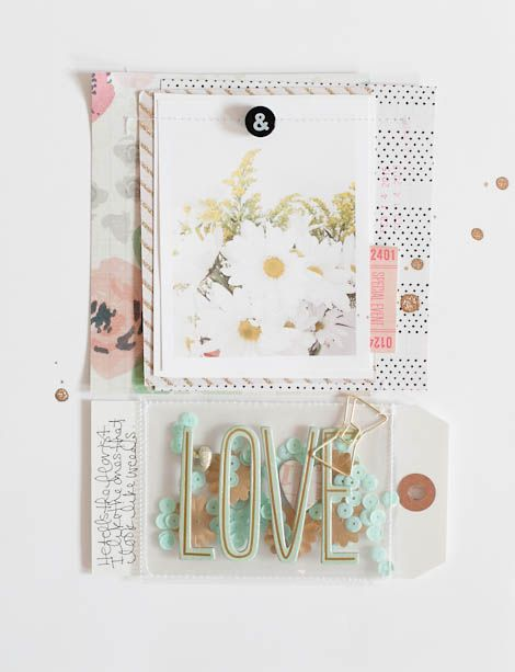 Cute confetti pocket for a scrapbook layout by Marcy Penner with crate paper.