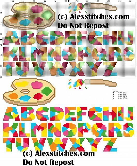 alphabet with brush and palette cross stitch pattern