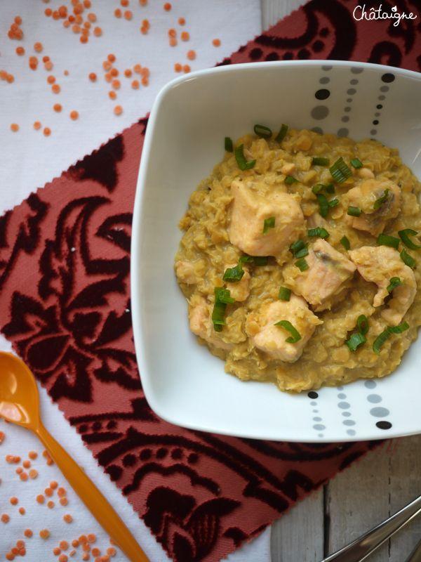Curry de lentille corail au saumon