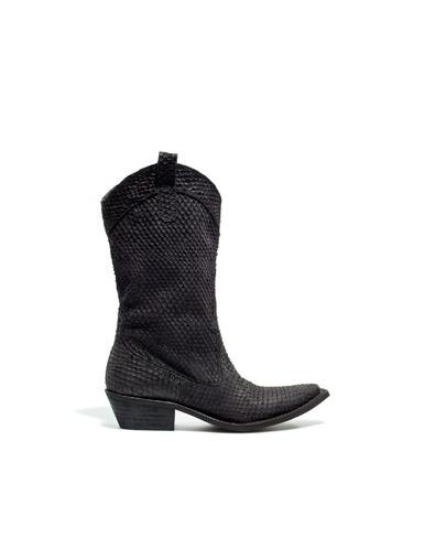 BOTÍN PLANO COWBOY SERPIENTE - Zapatos - Mujer - ZARA España