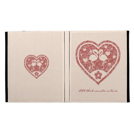 Two loving flamingos inside a beautiful red textured heart. All that counts is Love! / Caseable iPad Folio #fomadesign