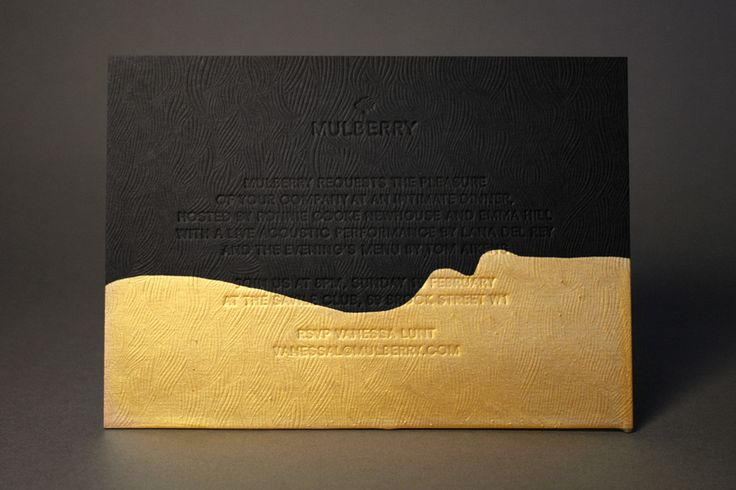 Mulberry Invitations. Heavy black blind debossed cards were dipped into liquid metal paint by Emily Macrae