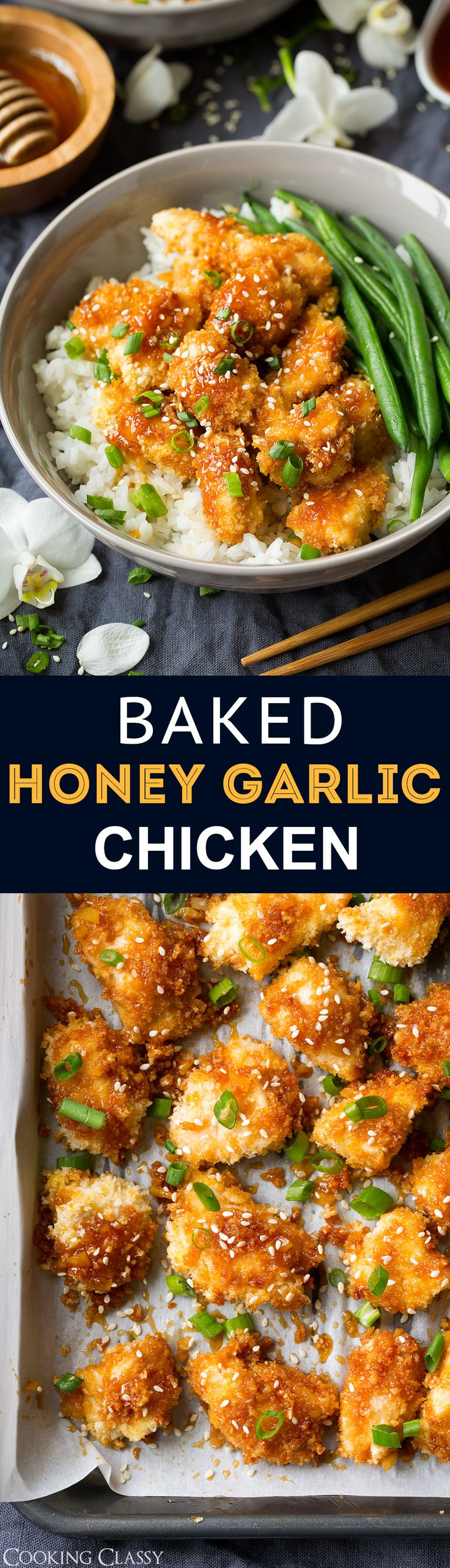 Baked Honey Garlic Chicken recipe from @cookingclassy