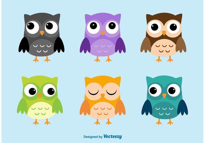 Owl Cartoon Vector Characters