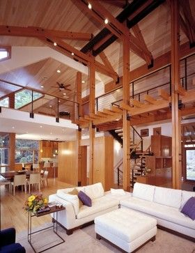 exposed western red cedar beams and ceiling! - contemporary living room - WRCLA