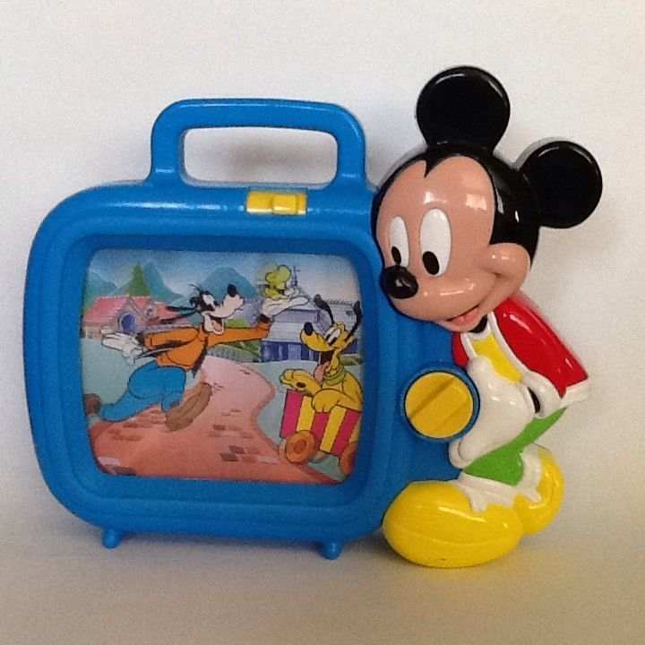 Mickey Mouse Musical Television TV Scrolling Wind Up Vintage Disney Pluto Video