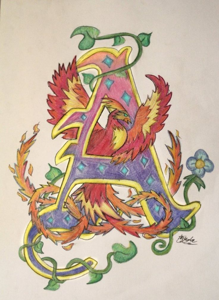 I found it! I found my coloured version of the illuminated letter haha it was tucked away in a box with some other art stuff. So yup here it is An outlined version can be seen here --->[link]