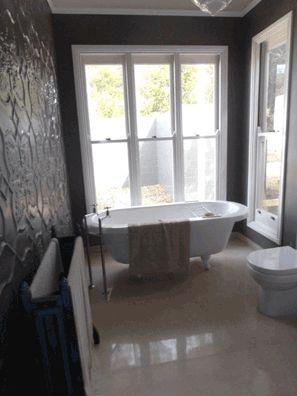 Pressed Metal wall panels in Bathroom