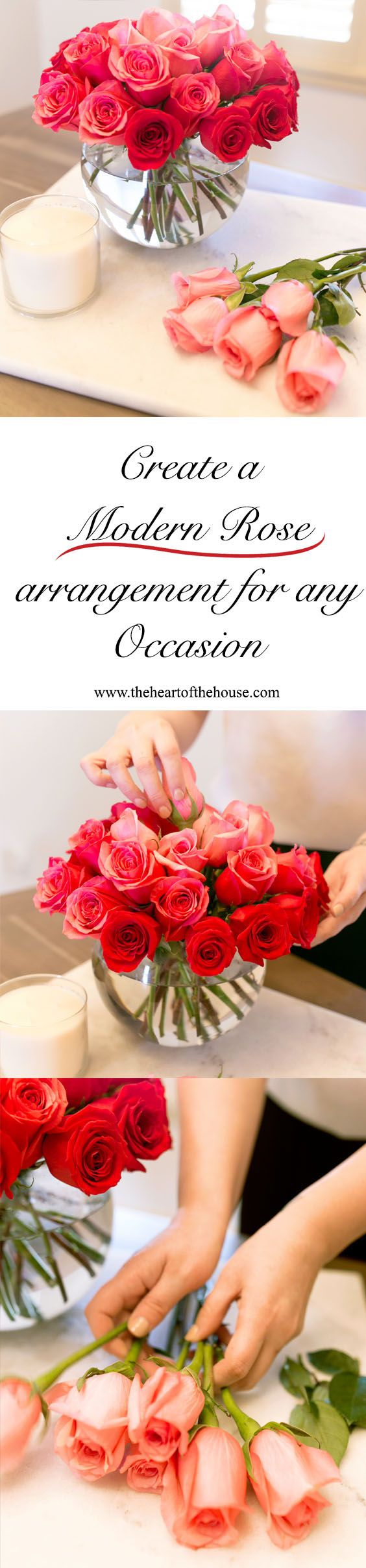 an easy and simple way to arrange roses in a modern vase, perfect for any occasion.