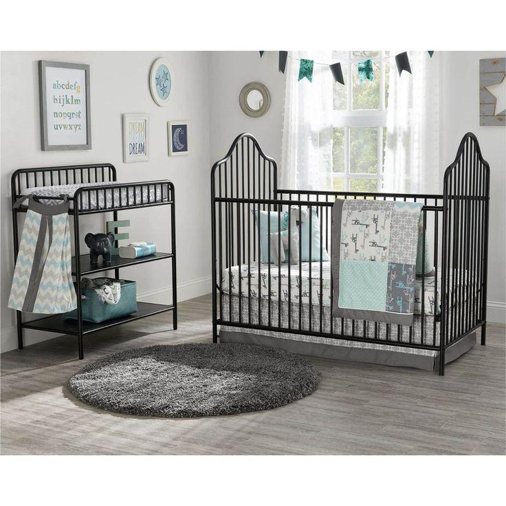 Victorian Black Spindle Metal Crib Changing Table Nursery Set Infant Toddler Bed | eBay