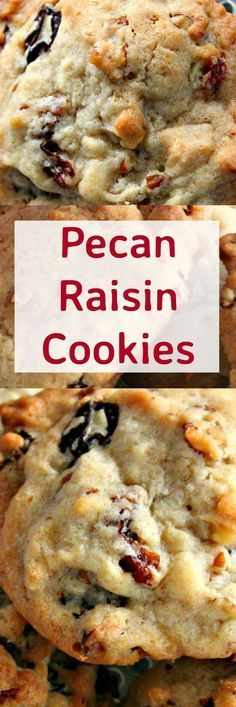 Pecan Raisin Cookies. Delicious easy cookies perfect with a glass of milk or…