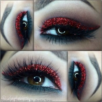 Sparkling Valentine's Day eye makeup.    By Claudia Flores