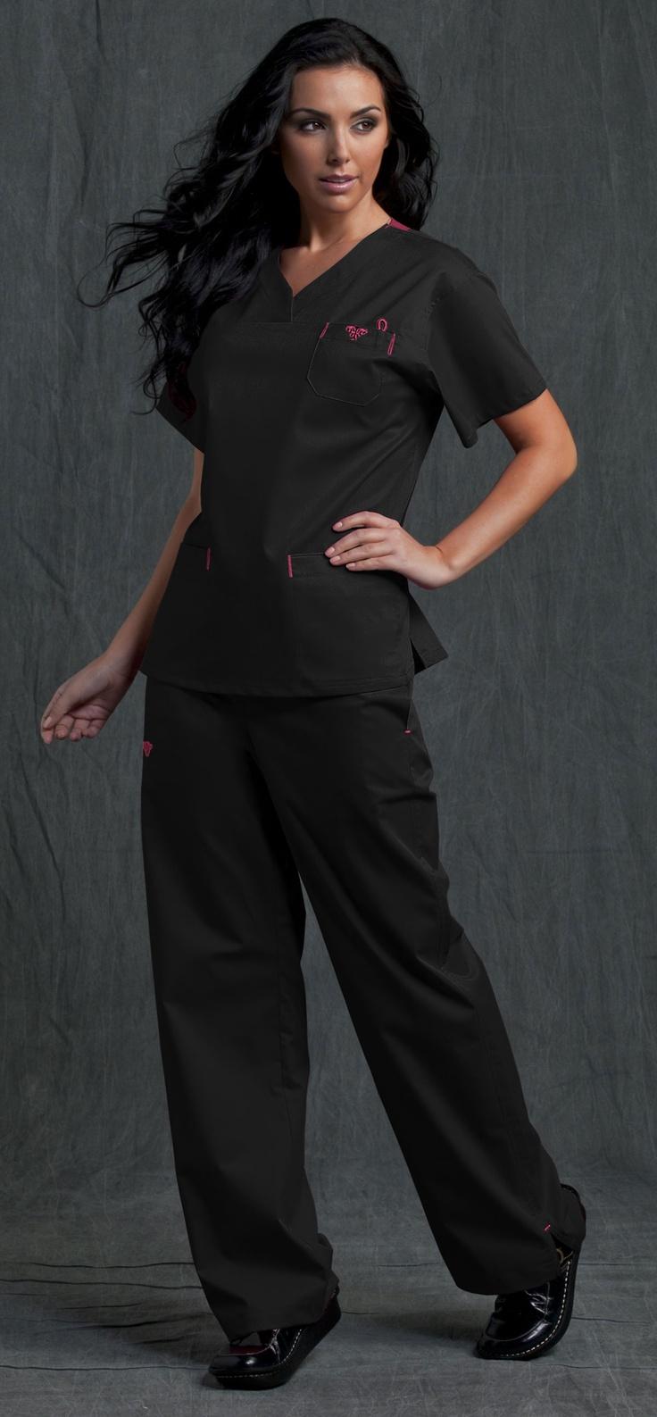 cute scrubs. wish we could wear our own scrubs!