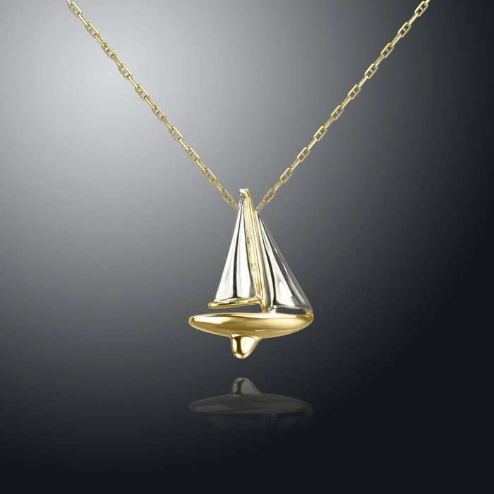 14K White and Yellow Gold Sailboat Pendant