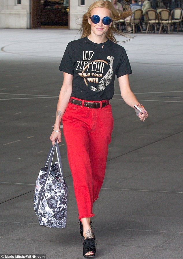 Red hot! Fearne Cotton, 34, lookedseriously funky in some bright red…