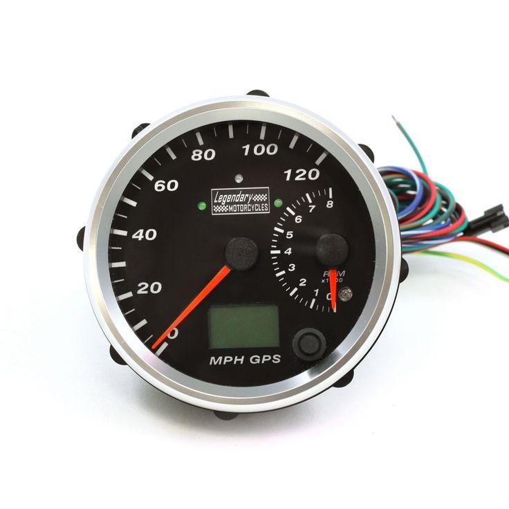 "4"" Chrome w/ Black Face Legendary Motorcycles Electronic GPS Speedometer/Tachometer"
