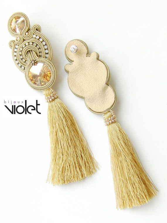 Lacey soutache earrings / gold extra big by Violetbijoux on Etsy