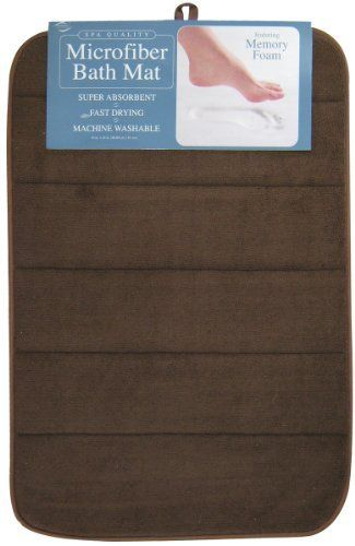 Envision Home Microfiber Bath Mat with Memory Foam, 16 by 24-Inch, Espresso by Envision Home. $15.00. Designed to sit alongside your tub or vanity and provide a comfortable, warm, dry spot for you to stand. Added loop is ideal for hanging to dry and seams allow the mat to be folded for convenient storage. Absorbent microfiber exterior holds 4 times its weight in water, much more than a traditional bath mat. Plush memory foam interior provides comfort when standing, making it ...