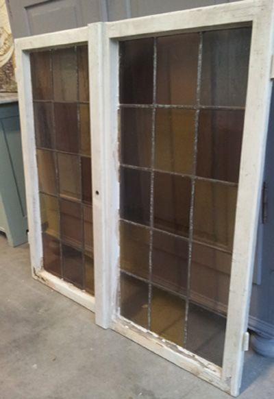 Het Echte Landleven: Pair onwijs mooie antieke ramen glas in lood 1141