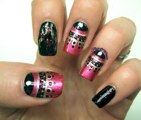 Fuchsia New Years #pink #black #nails #nailart - bellashoot.com & bellashoot iPhone & iPad app