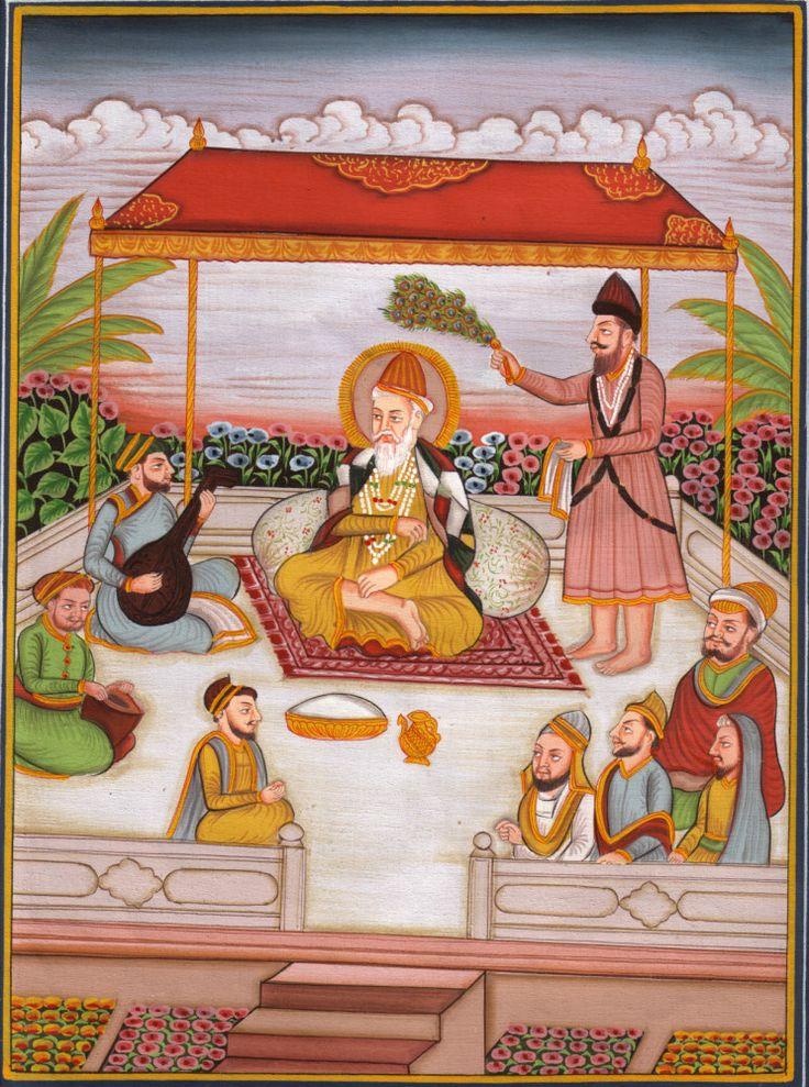 Guru Nanak Sikh Kirtan Art. It depicts the Guruji doing kirtan in presence of disciples and Bhai Mardana and Bala, who were lifelong companions of Guru Nanak.