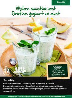 Recept voor meloen smoothie met Griekse yoghurt en munt #Lidl