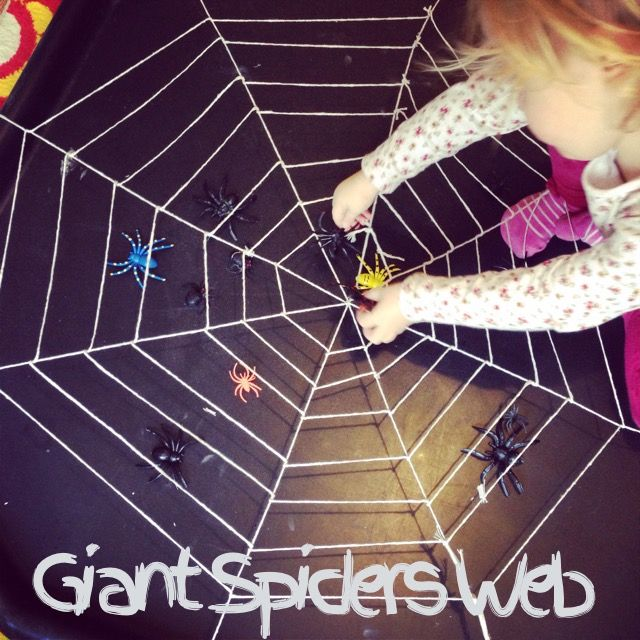 Giant spiders web tuff spot. Halloween fun for kids in the tuff tray.