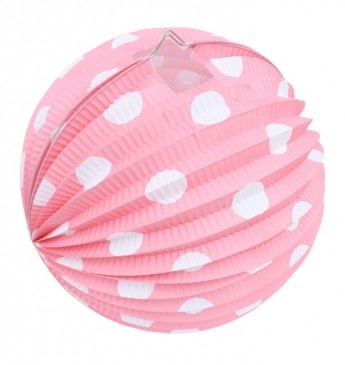 Pink and White Spot Paper Lantern