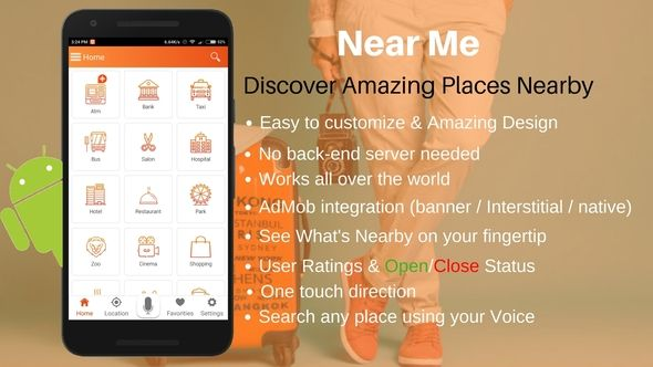 Near Me Pro - Android Place Finder App by tinkubk Near Me Pro help you to find amazing places nearby you ¨C anywhere in the world. Near Me Pro is a native Android app for tourists and travelers. With this app source code you can create your own app and Explore the world on your f