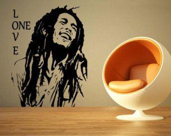 Large Music Bob Marley One Love Reggae Wall Art Decal Mural Sticker Bedroom Living Lounge Kitchen