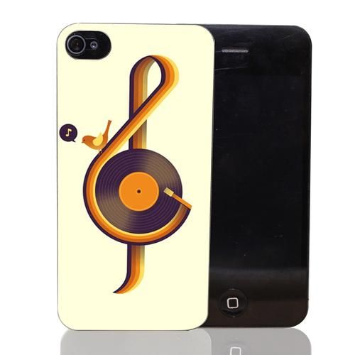 Retro Music Style Transparent Hard Back Cover for iPhone