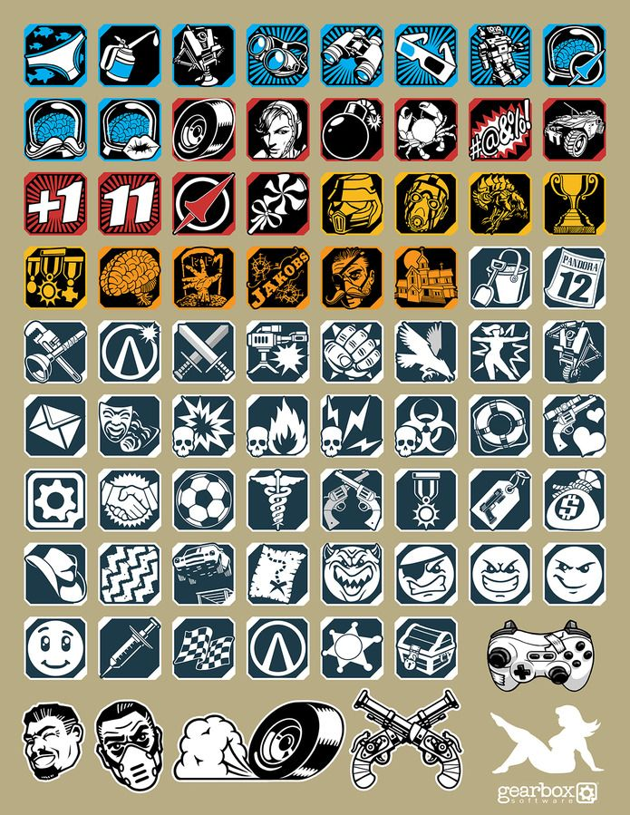 Borderlands Achievement Icons, UI Icons (C) Gearbox Software