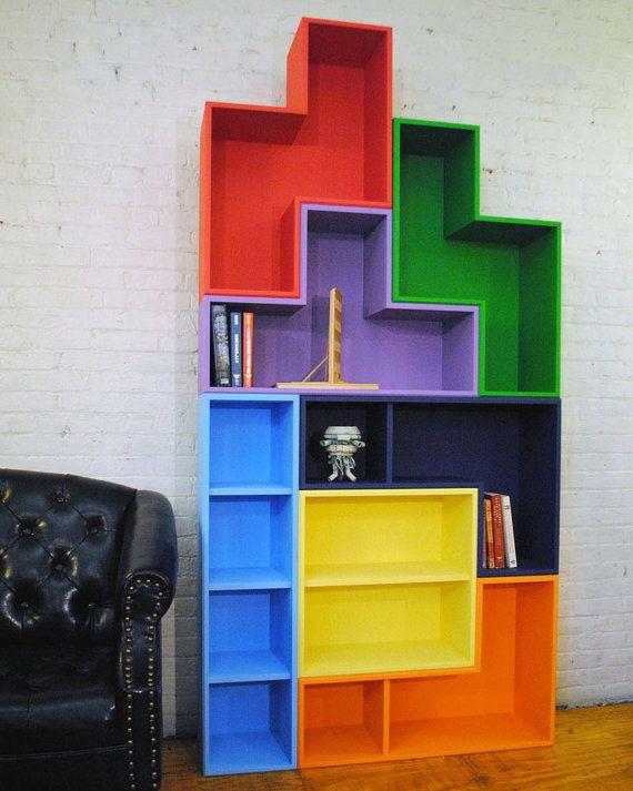 TetraMod 7 set of bookcases look like huge Tetris blocks. #tetris #bookshelf #bookcase