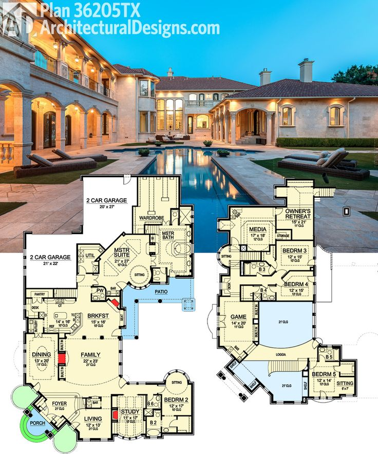 Architectural Designs Luxury House Plan 36205TX gives you this outdoor paradise and almost 7,000 sq. ft. of indoor space to enjoy. Ready when you are. Where do YOU want to build?