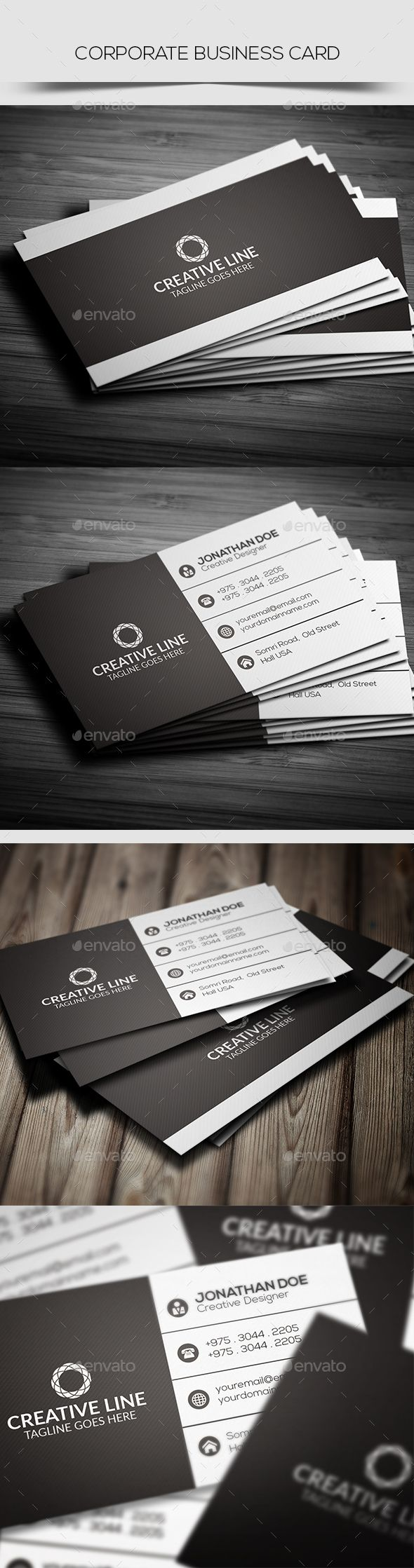 #Corporate Business Card - Corporate #Business #Cards Download here:  https://graphicriver.net/item/corporate-business-card/20333755?ref=alena994