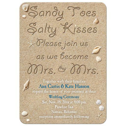 Sandy toes salty kisses same sex lesbian beach or destination wedding invitation.
