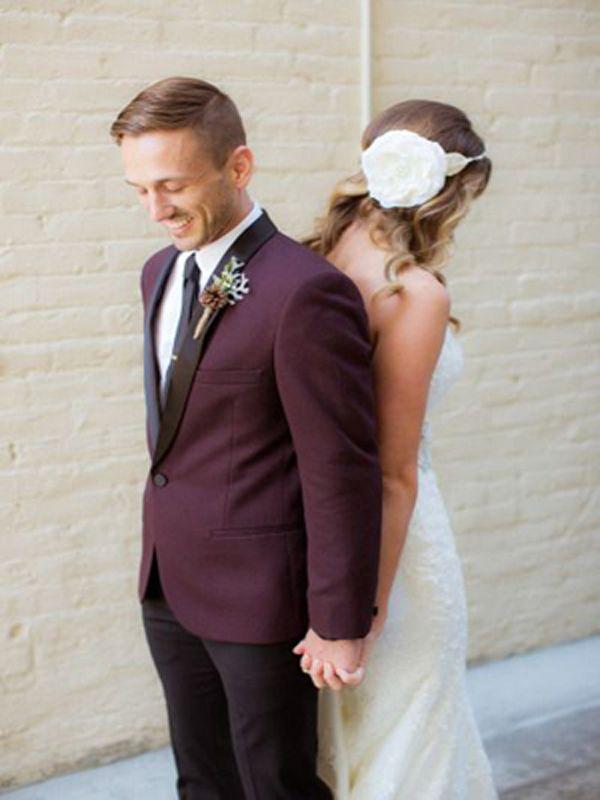 Eggplant grooms suit - Brides of Adelaide