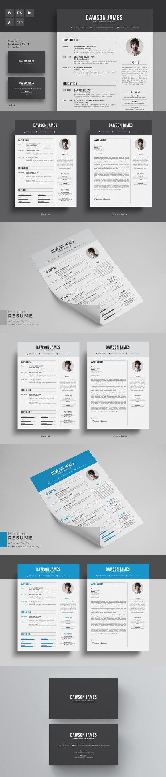 Resume/CV Word + Indesign. Business Infographic
