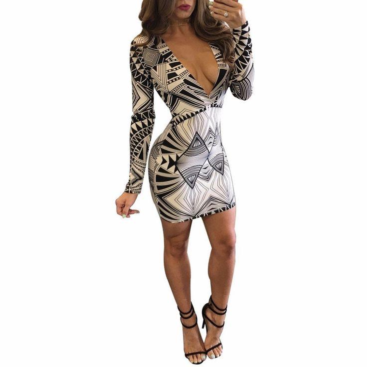 Geometric Style Elegant Print Party Slim Stretch Dress - CELEBRITYSTYLEFASHION.COM.AU - 1