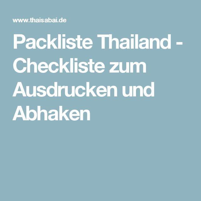 Packliste Thailand - Checkliste zum Ausdrucken und Abhaken