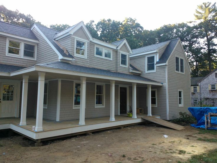 Farmers porch makes the farm house cape come alive decks for Farmers porch