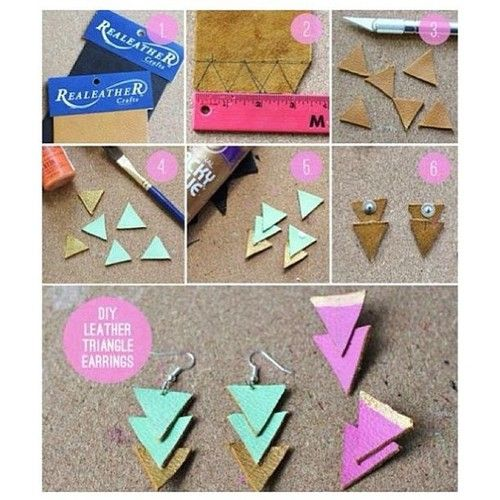 13 best do it yourself accessories images on pinterest necklaces diy leather triangle earrings diy craft crafts craft ideas easy crafts diy ideas do it yourself easy diy diy jewelry craft jewelry craft earrings solutioingenieria Image collections