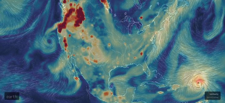 Earth Wind Map with fine dust overlay shows Irma and wildfires.