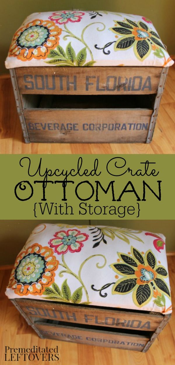How to Make an Ottoman from a Crate - Use a crate and fabric to create an ottoman. The lifting lid on the DIY Ottoman allows you to use it for storage to help you keep the family room organized!