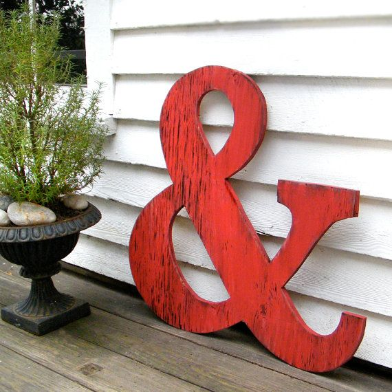 Big Ampersand Large Wooden Letters Big Wooden by SlippinSouthern, $59.00. Could paint in cream and decorate for wall behind band